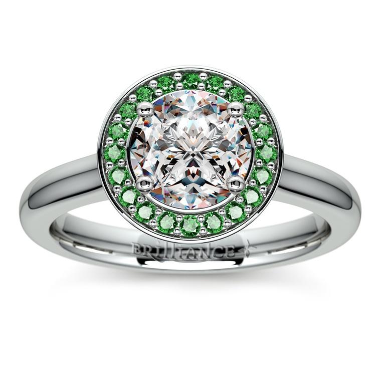 White Gold Ring Emerald Ring Gemstone Ring