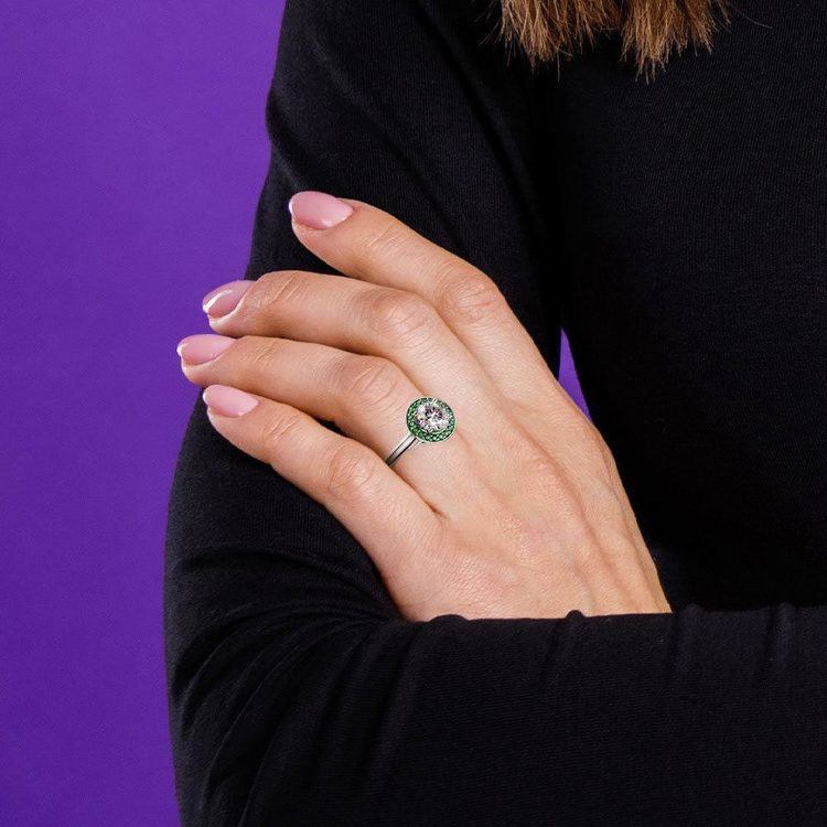 Halo Emerald Gemstone Engagement Ring in White Gold | 06