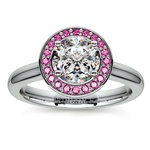 Halo Pink Sapphire Gemstone Engagement Ring in Platinum | Thumbnail 01