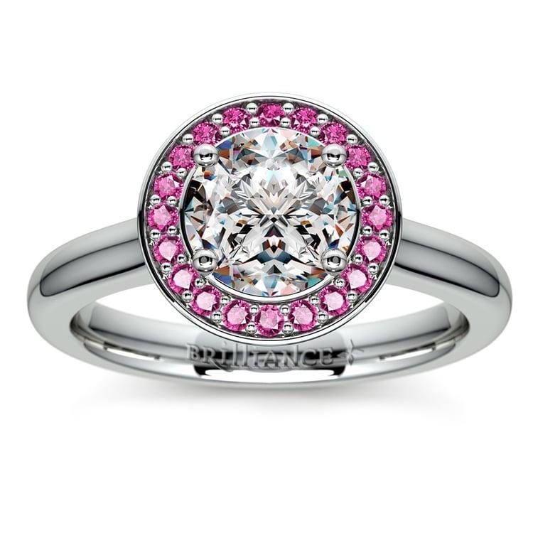 Halo Pink Sapphire Gemstone Engagement Ring in Platinum | 01