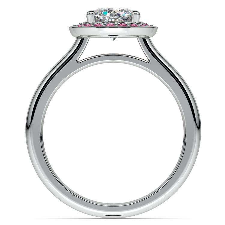 Halo Pink Sapphire Gemstone Engagement Ring in Platinum | 02