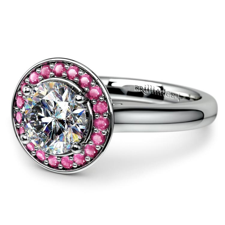 Halo Pink Sapphire Gemstone Engagement Ring in Platinum | 04