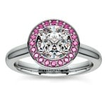 Halo Pink Sapphire Gemstone Engagement Ring in White Gold  | Thumbnail 01