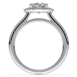 Halo Pink Sapphire Gemstone Engagement Ring in White Gold  | Thumbnail 02