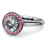 Halo Pink Sapphire Gemstone Engagement Ring in White Gold  | Thumbnail 04