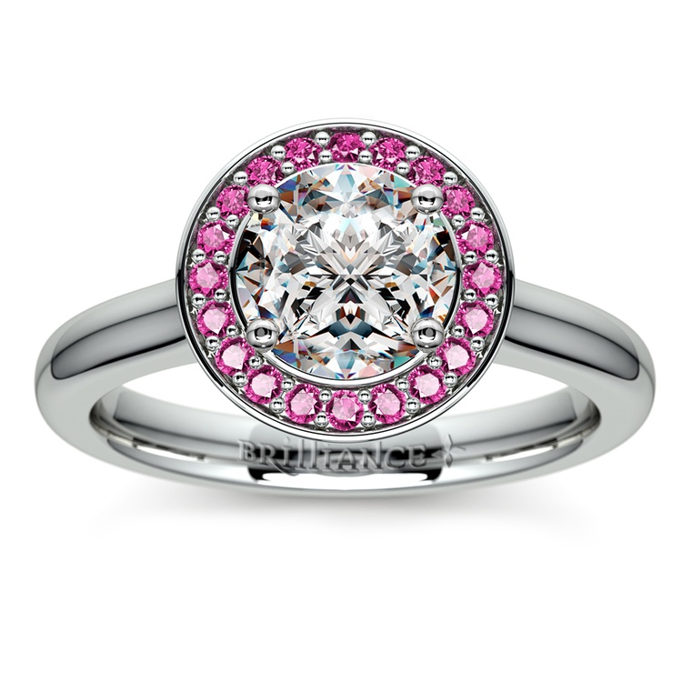 Halo Pink Sapphire Gemstone Engagement Ring in White Gold  | 01