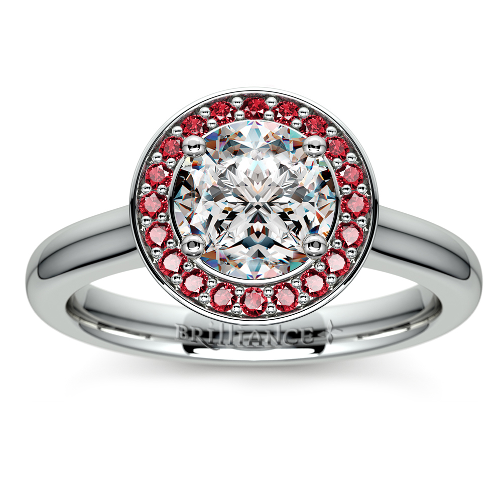 Halo Ruby Gemstone Engagement Ring In Platinum