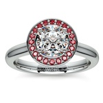 Halo Ruby Gemstone Engagement Ring in White Gold | Thumbnail 01