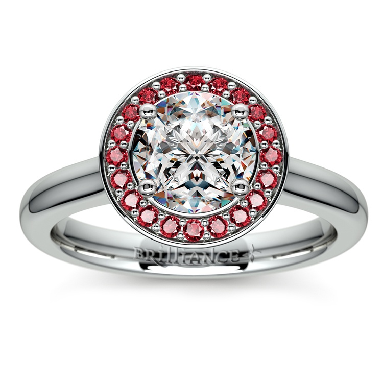 Halo Ruby Gemstone Engagement Ring in White Gold | 01