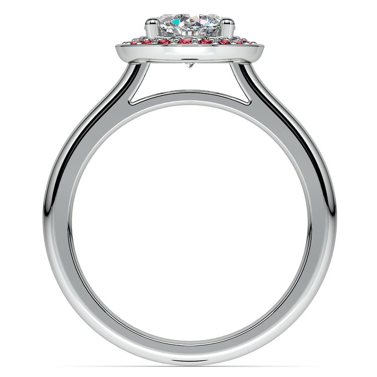 Halo Ruby Gemstone Engagement Ring in White Gold | 02