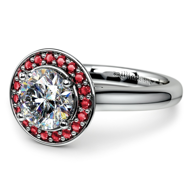 Halo Ruby Gemstone Engagement Ring in White Gold | 04