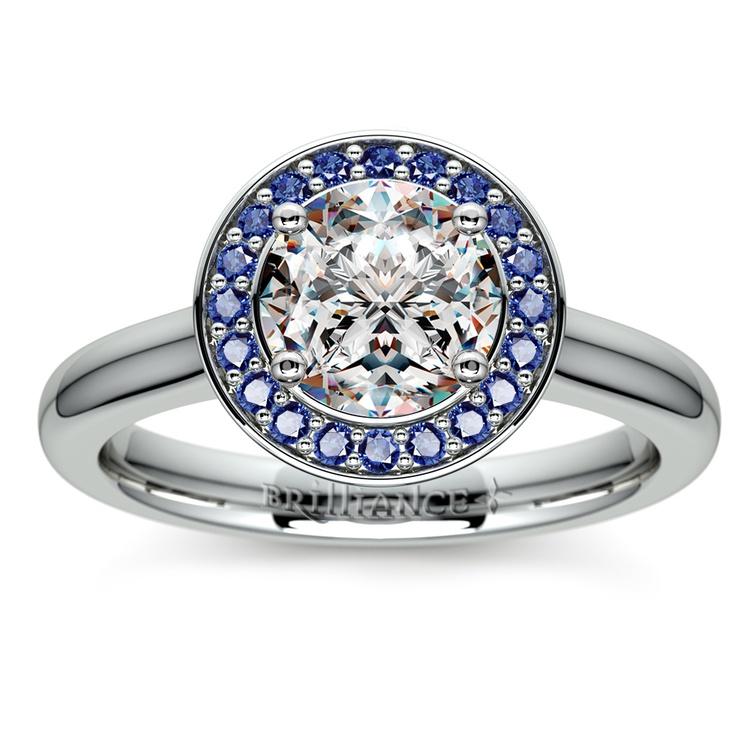 Halo Sapphire Gemstone Engagement Ring in Platinum  | 01