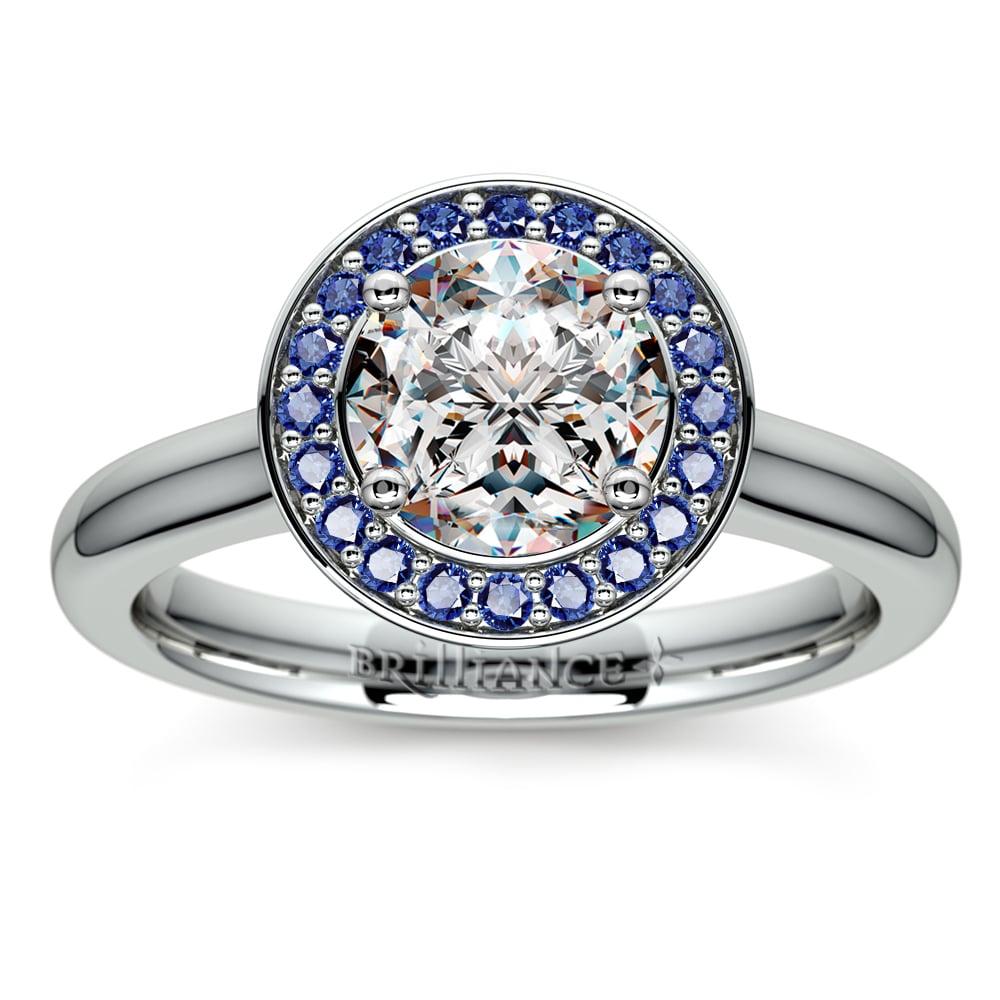 halo sapphire gemstone engagement ring in platinum. Black Bedroom Furniture Sets. Home Design Ideas