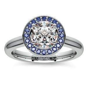 Halo Sapphire Gemstone Engagement Ring in White Gold