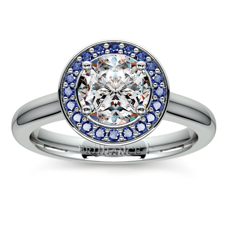 Halo Sapphire Gemstone Engagement Ring in White Gold  | 01
