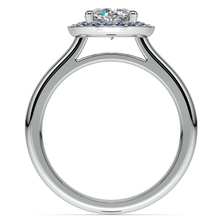 Halo Sapphire Gemstone Engagement Ring in White Gold  | 02
