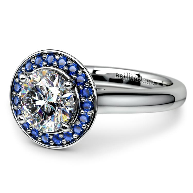 Halo Sapphire Gemstone Engagement Ring in White Gold  | 04