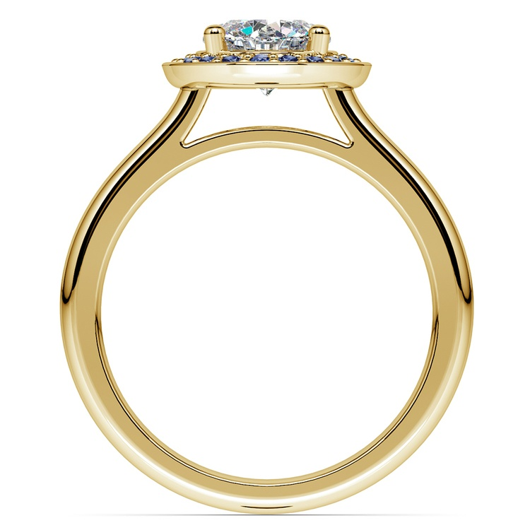Halo Sapphire Gemstone Engagement Ring in Yellow Gold | 02