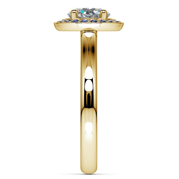 Halo Sapphire Gemstone Engagement Ring in Yellow Gold | 03