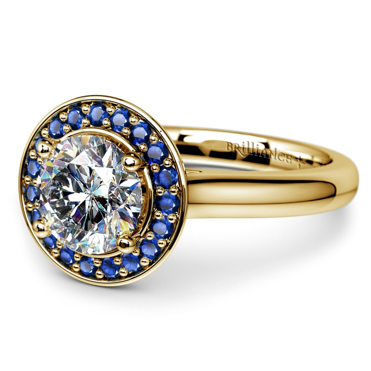 Halo Sapphire Gemstone Engagement Ring in Yellow Gold | 04