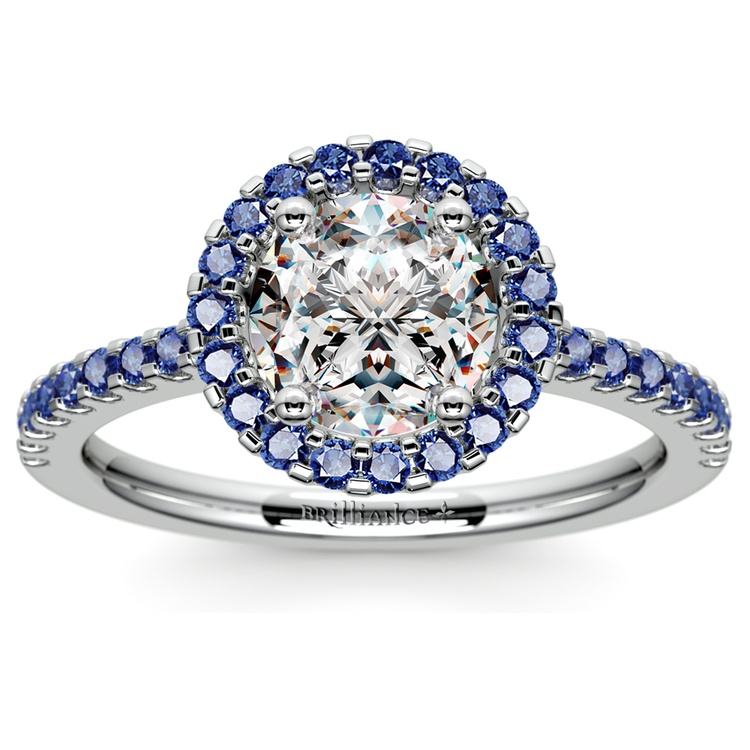 Halo Shire Gemstone Engagement Ring With Side Stones In Platinum 01
