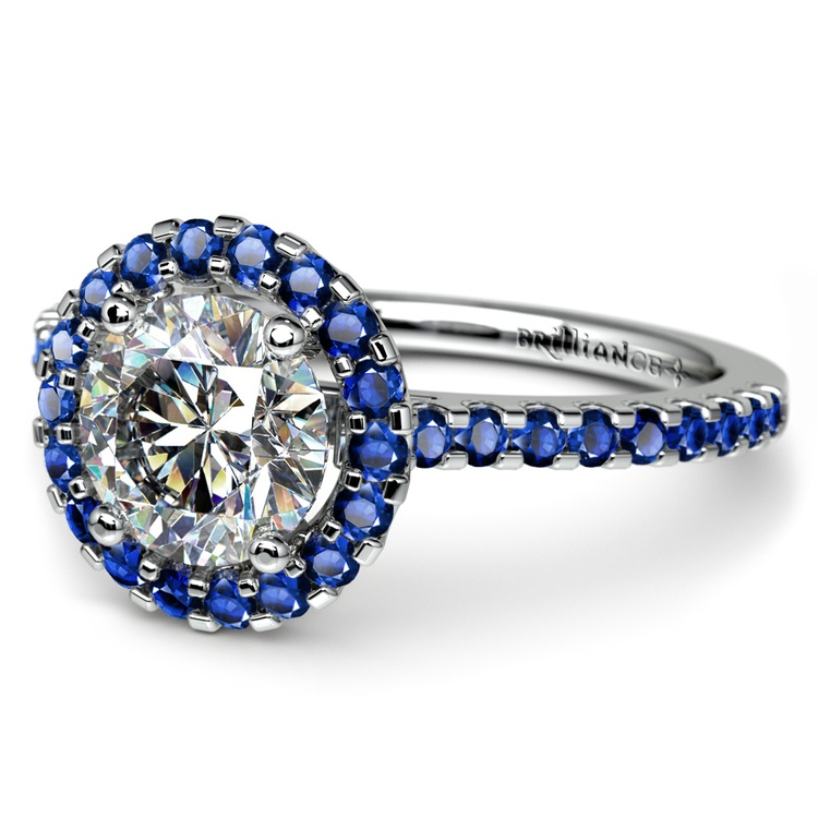 Halo Sapphire Gemstone Engagement Ring with Side Stones in Platinum | 04