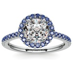 Halo Sapphire Gemstone Engagement Ring with Side Stones in White Gold | Thumbnail 01