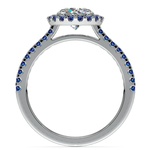 Halo Sapphire Gemstone Engagement Ring with Side Stones in White Gold | Thumbnail 02