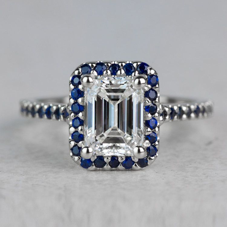 Halo Sapphire Gemstone Engagement Ring with Side Stones in White Gold | 05
