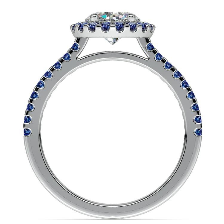 Halo Sapphire Gemstone Engagement Ring with Side Stones in White Gold | 02