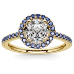 Halo Sapphire Gemstone Engagement Ring with Side Stones in Yellow Gold | Thumbnail 01