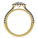 Halo Sapphire Gemstone Engagement Ring with Side Stones in Yellow Gold | Thumbnail 02