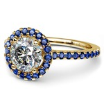 Halo Sapphire Gemstone Engagement Ring with Side Stones in Yellow Gold | Thumbnail 04