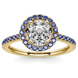 Halo Sapphire Gemstone Engagement Ring with Side Stones in Yellow Gold