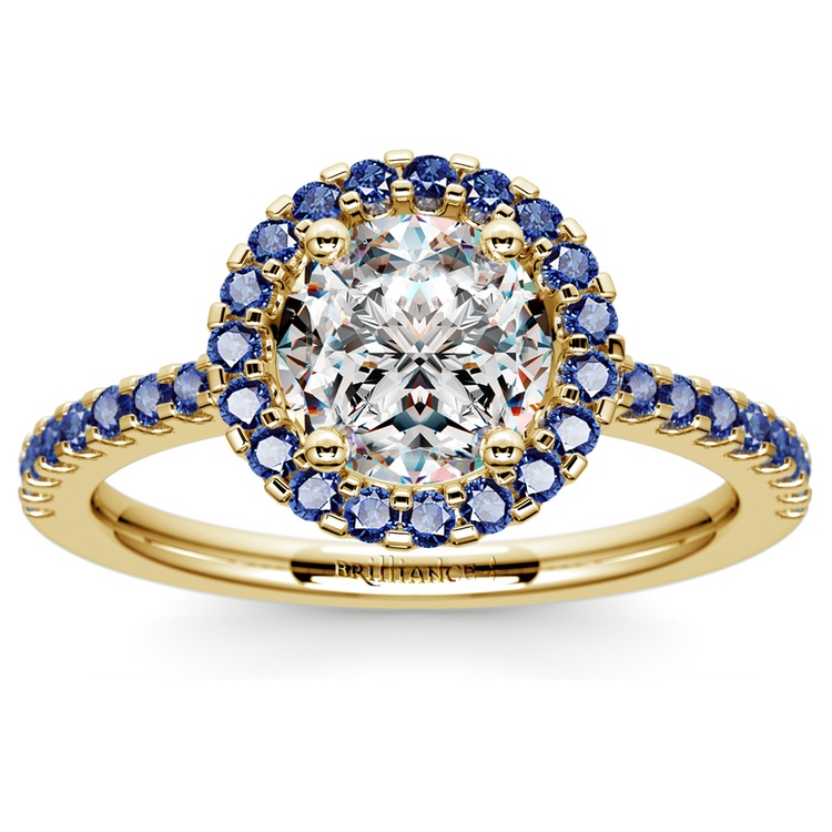 Halo Sapphire Gemstone Engagement Ring with Side Stones in Yellow Gold | 01