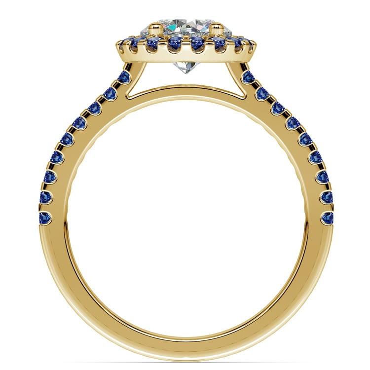 Halo Sapphire Gemstone Engagement Ring with Side Stones in Yellow Gold | 02