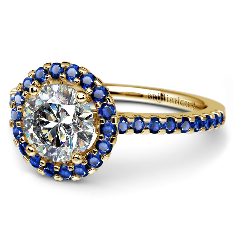 Halo Sapphire Gemstone Engagement Ring with Side Stones in Yellow Gold | 04