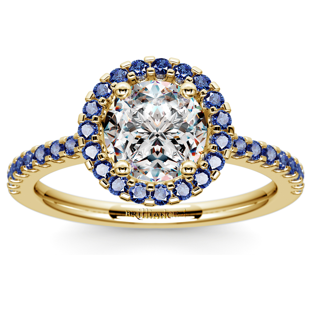 halo sapphire gemstone engagement ring with side stones in. Black Bedroom Furniture Sets. Home Design Ideas