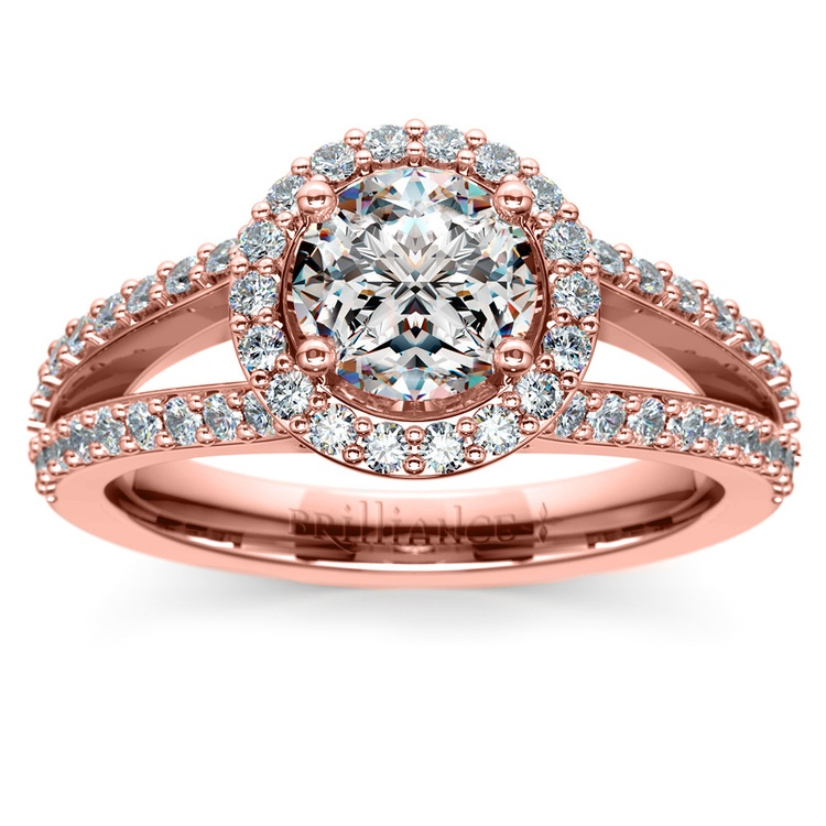 Halo Split Shank Diamond Engagement Ring in Rose Gold | 01
