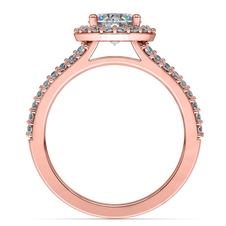 Halo Split Shank Diamond Engagement Ring in Rose Gold | 02