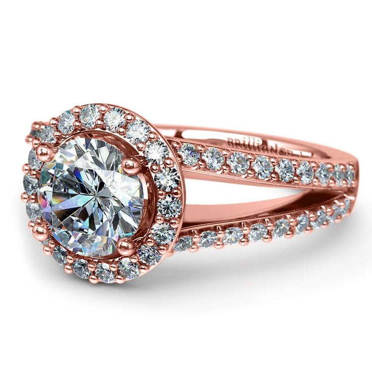 Halo Split Shank Diamond Engagement Ring in Rose Gold | 04
