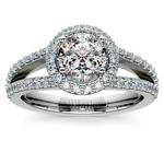 Halo Split Shank Diamond Engagement Ring in Platinum   Thumbnail 01