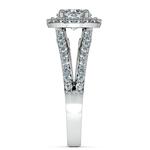 Halo Split Shank Diamond Engagement Ring in Platinum   Thumbnail 03