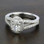 Halo Split Shank Diamond Engagement Ring in Platinum   Thumbnail 05