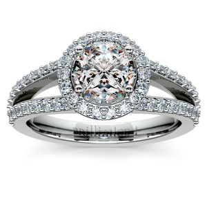Halo Split Shank Diamond Engagement Ring in Platinum