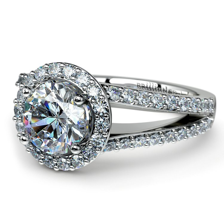 Halo Split Shank Diamond Engagement Ring in Platinum   04