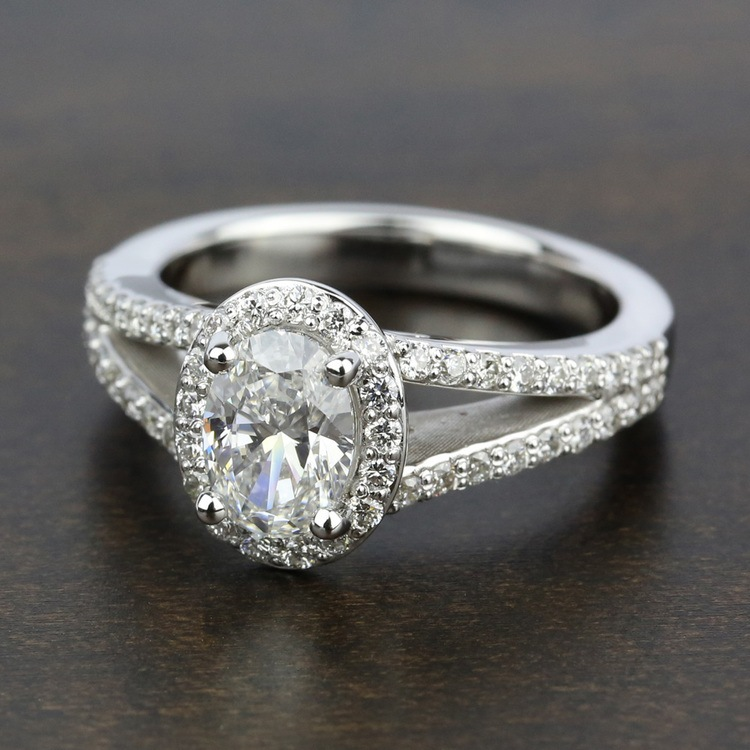 Halo Split Shank Diamond Engagement Ring in Platinum   05