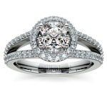 Halo Split Shank Diamond Engagement Ring in White Gold | Thumbnail 01