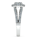 Halo Split Shank Diamond Engagement Ring in White Gold | Thumbnail 03