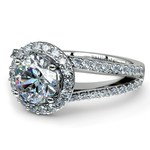 Halo Split Shank Diamond Engagement Ring in White Gold | Thumbnail 04